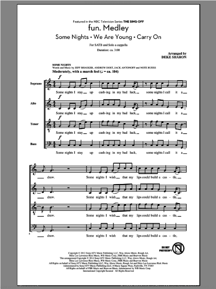 Fun.  Medley from the Sing-Off sheet music for choir by Jeff Bhasker, Deke Sharon, Fun, fun. featuring Janelle Monae, Andrew Dost, Jack Antonoff and Nate Ruess. Score Image Preview.