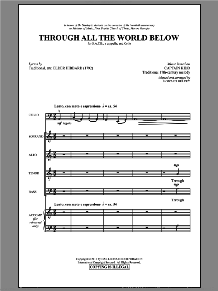 Through All The World Below sheet music for choir (SATB) by Howard Helvey, intermediate choir (SATB). Score Image Preview.