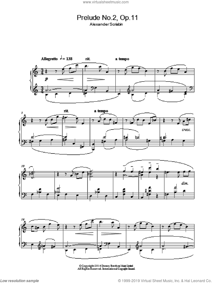 Prelude No.2, Op.11 sheet music for piano solo by Alexander Scriabin. Score Image Preview.