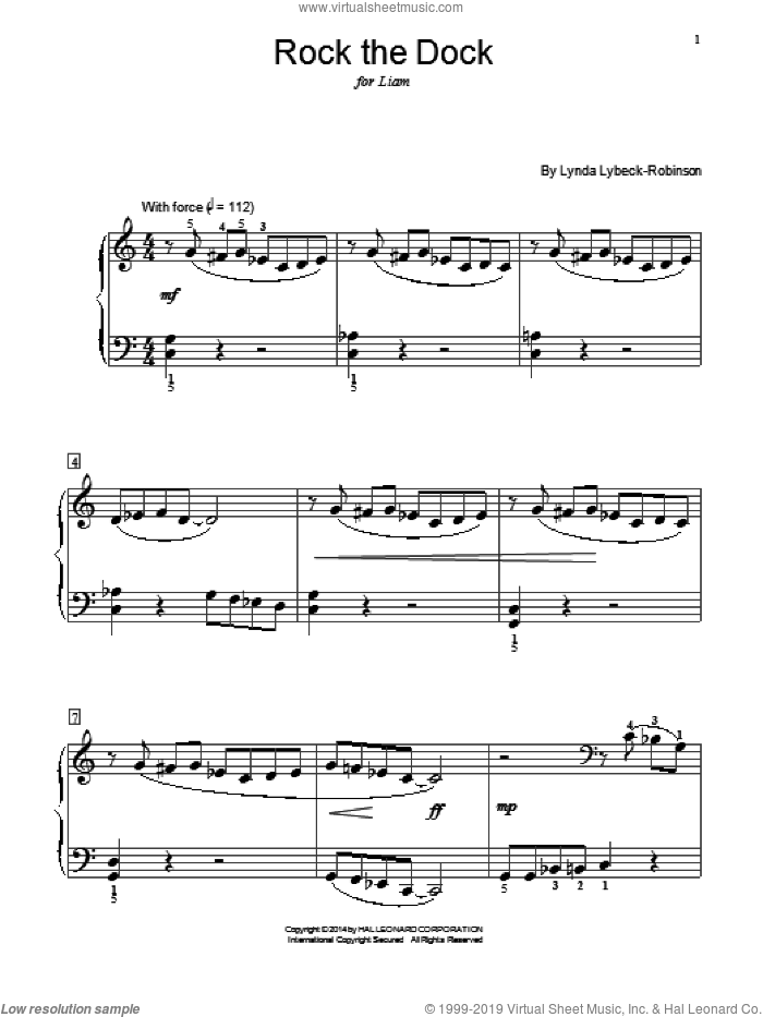 Rock The Dock sheet music for piano solo (elementary) by Lynda Lybeck-Robinson, classical score, beginner piano (elementary)