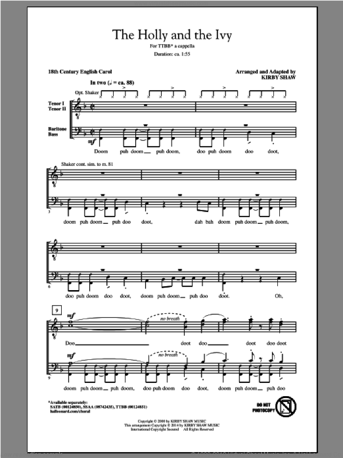 The Holly And The Ivy sheet music for choir (TTBB: tenor, bass) by Kirby Shaw, intermediate skill level