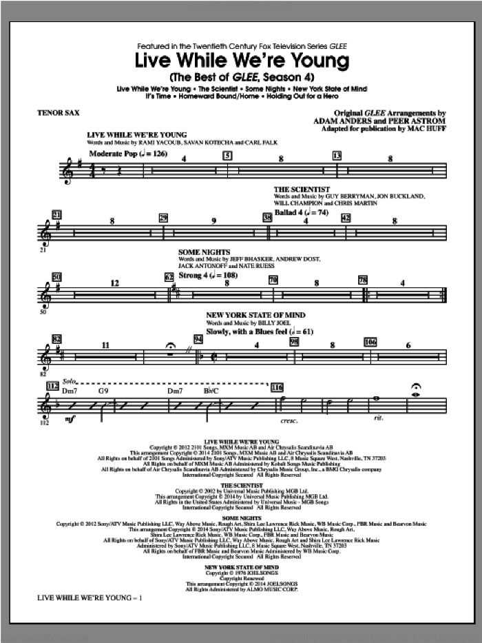 Live While We're Young (The Best of Glee Season 4) sheet music for orchestra/band (tenor sax) by Mac Huff. Score Image Preview.