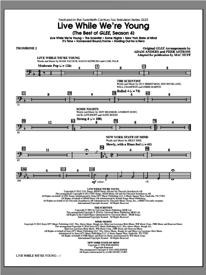 Live While We're Young (The Best of Glee Season 4) sheet music for orchestra/band (trombone 2) by Mac Huff, intermediate skill level