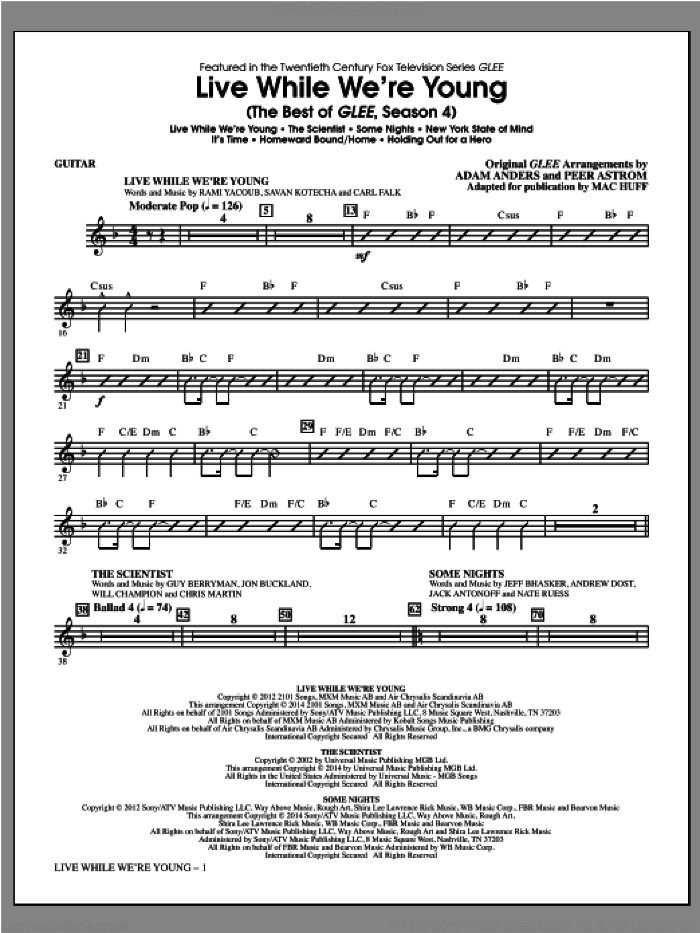 Live While We're Young (The Best of Glee Season 4) sheet music for orchestra/band (guitar) by Mac Huff. Score Image Preview.
