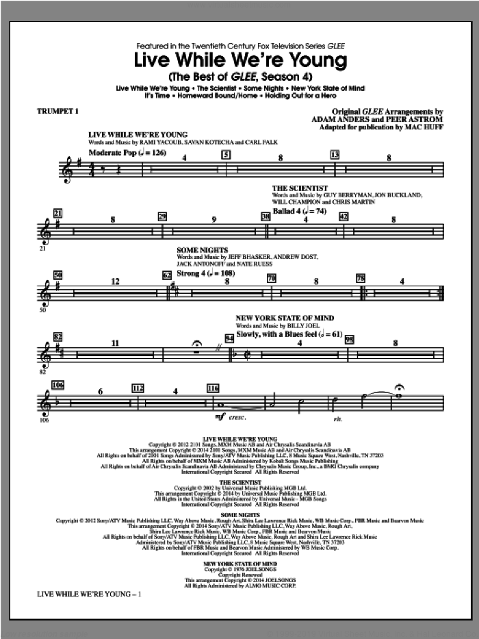Live While We're Young (complete set of parts) sheet music for orchestra/band by Mac Huff, intermediate skill level