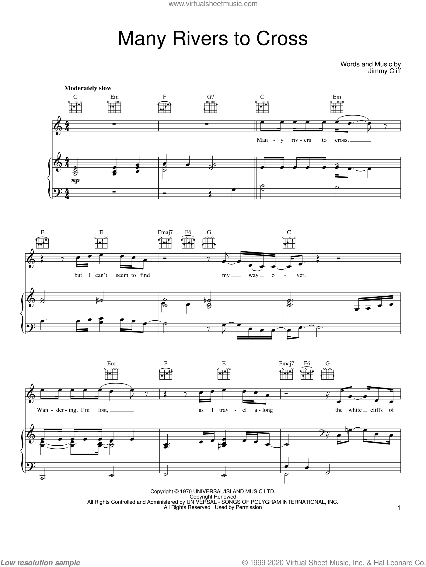 Many Rivers To Cross sheet music for voice, piano or guitar by Joe Cocker, UB40 and Jimmy Cliff. Score Image Preview.