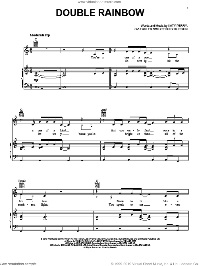 Double Rainbow sheet music for voice, piano or guitar by Katy Perry. Score Image Preview.