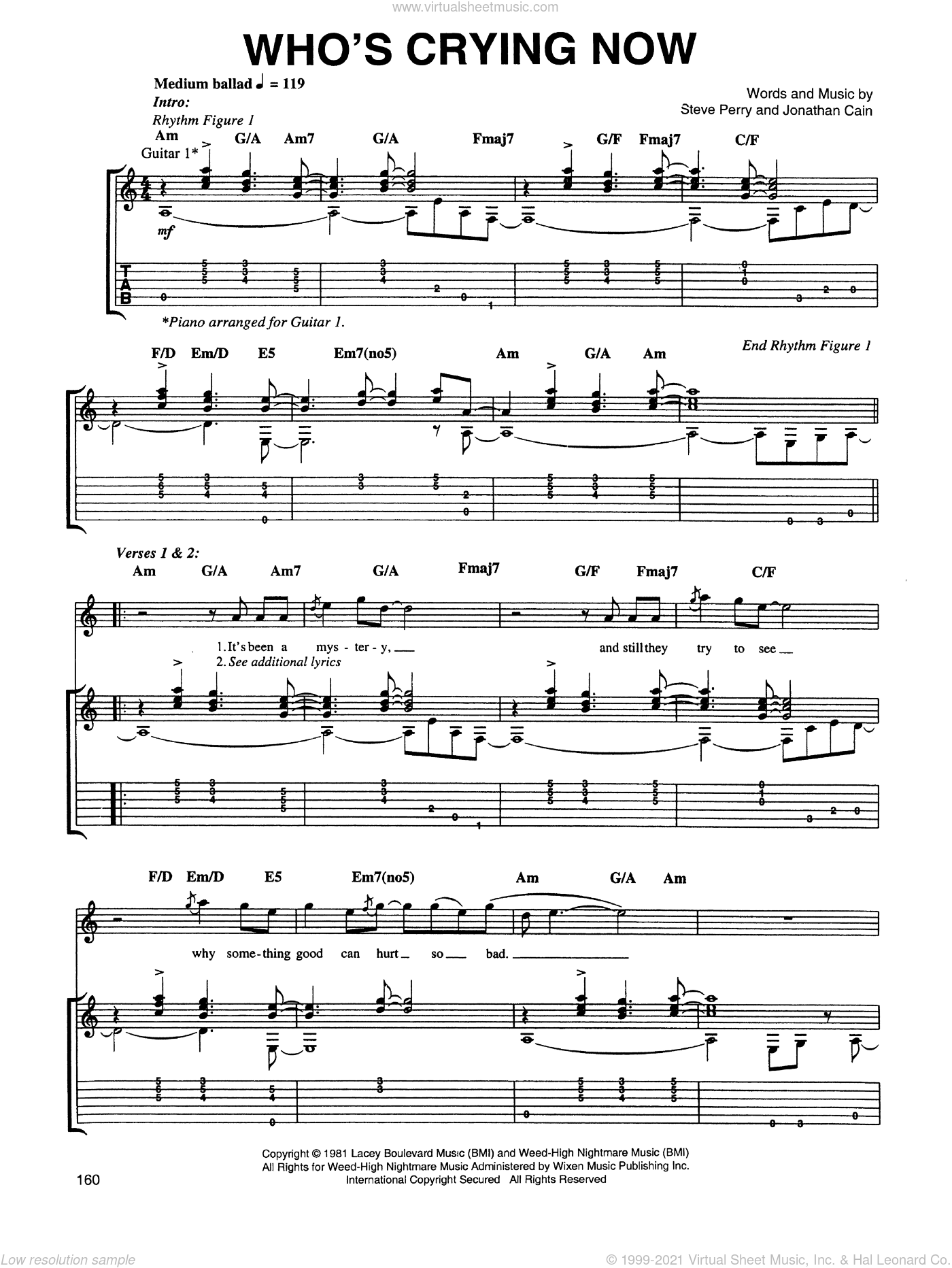 Who's Crying Now sheet music for guitar (tablature) by Steve Perry, Jonathan Cain and Journey. Score Image Preview.