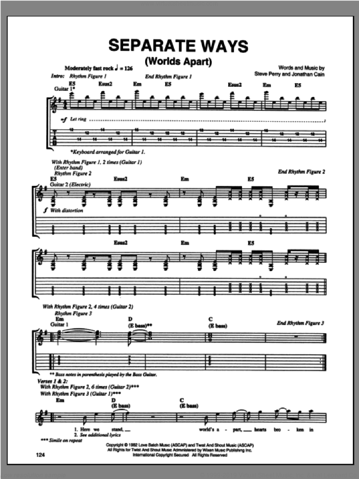 Separate Ways (Worlds Apart) sheet music for guitar (tablature) by Journey, intermediate. Score Image Preview.