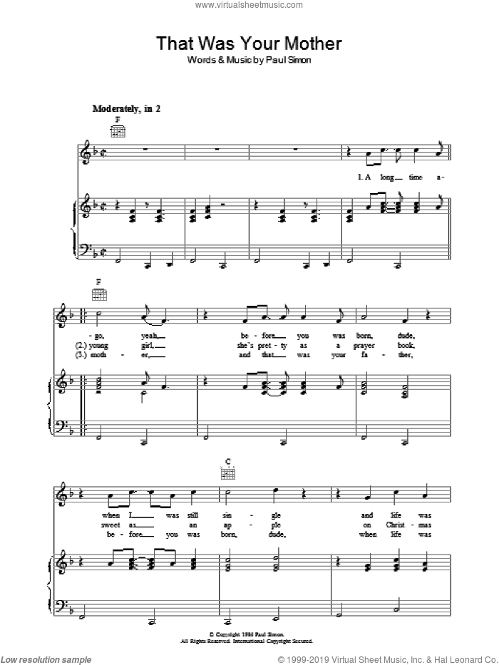 That Was Your Mother sheet music for voice, piano or guitar by Paul Simon. Score Image Preview.