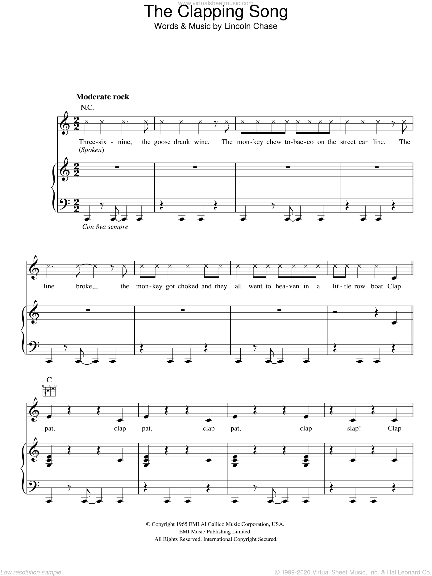 The Clapping Song sheet music for voice, piano or guitar by Lincoln Chase. Score Image Preview.