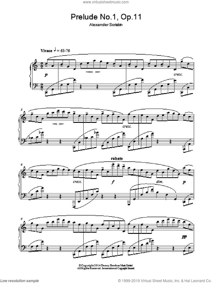 Prelude No.1, Op.11 sheet music for piano solo by Alexander Scriabin, classical score, intermediate skill level