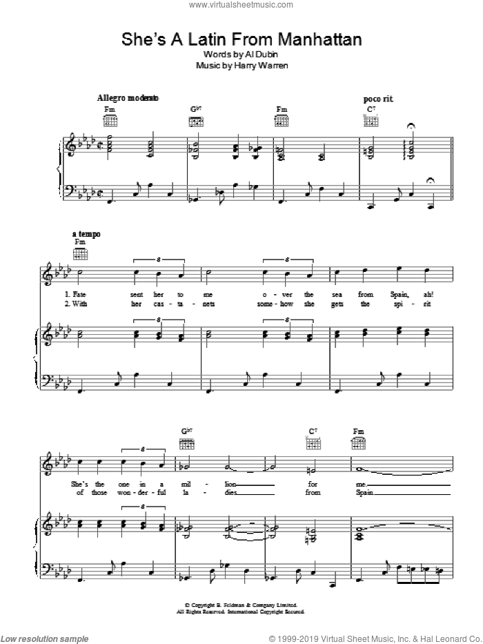 She's A Latin From Manhattan sheet music for voice, piano or guitar by Al Dubin and Harry Warren. Score Image Preview.
