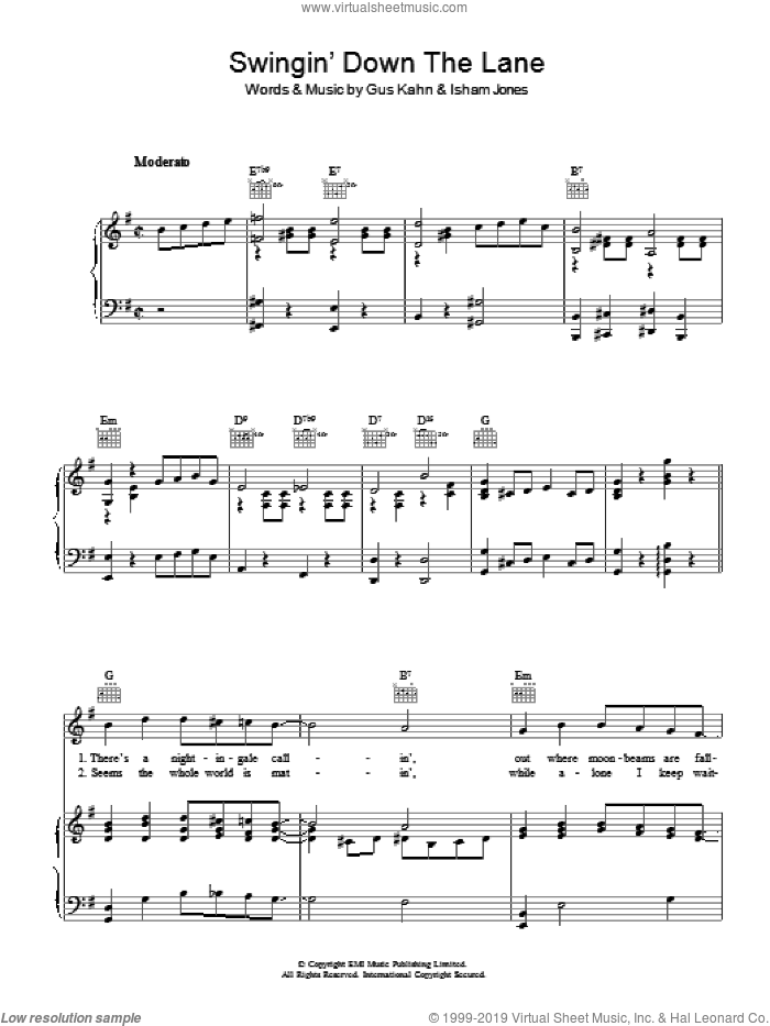 Swingin' Down The Lane sheet music for voice, piano or guitar by Isham Jones and Gus Kahn. Score Image Preview.