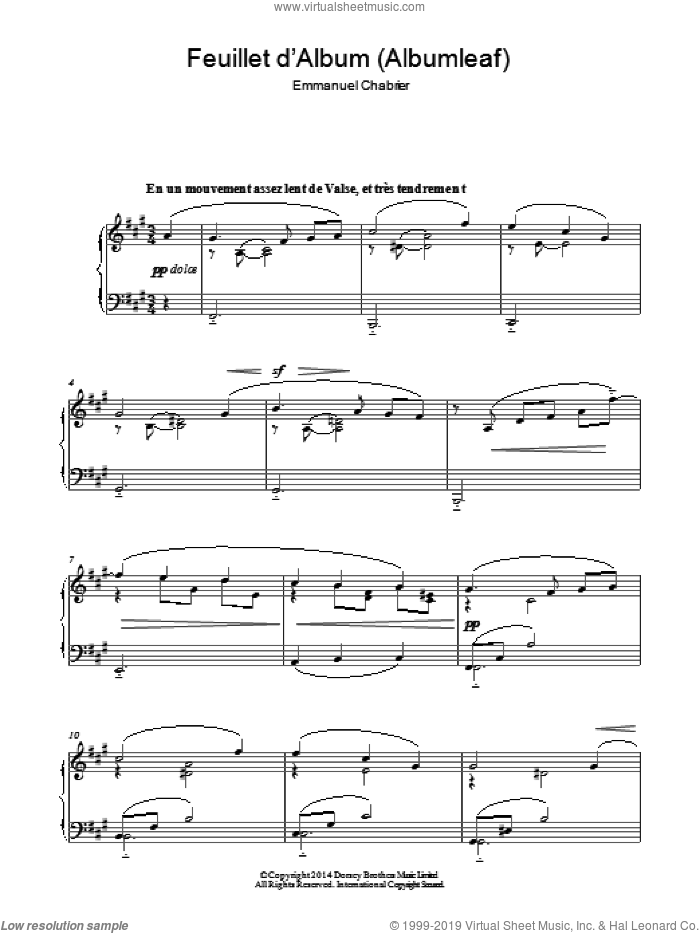 Feuillet D'album sheet music for piano solo by Emmanuel Chabrier, classical score, intermediate skill level
