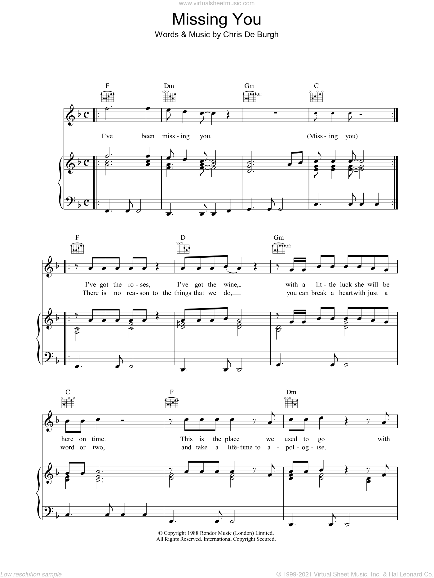 Missing You sheet music for voice, piano or guitar by Chris de Burgh, intermediate. Score Image Preview.