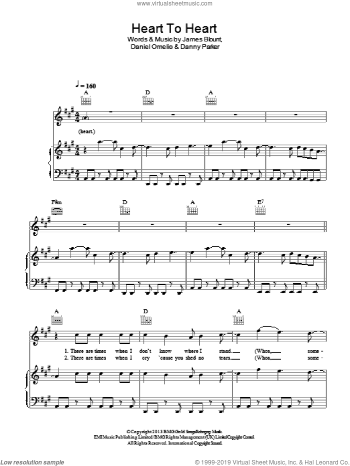 Heart To Heart sheet music for voice, piano or guitar by James Blunt, Derek Jones, Daniel Omelio, Danny Parker and James Blount, intermediate skill level