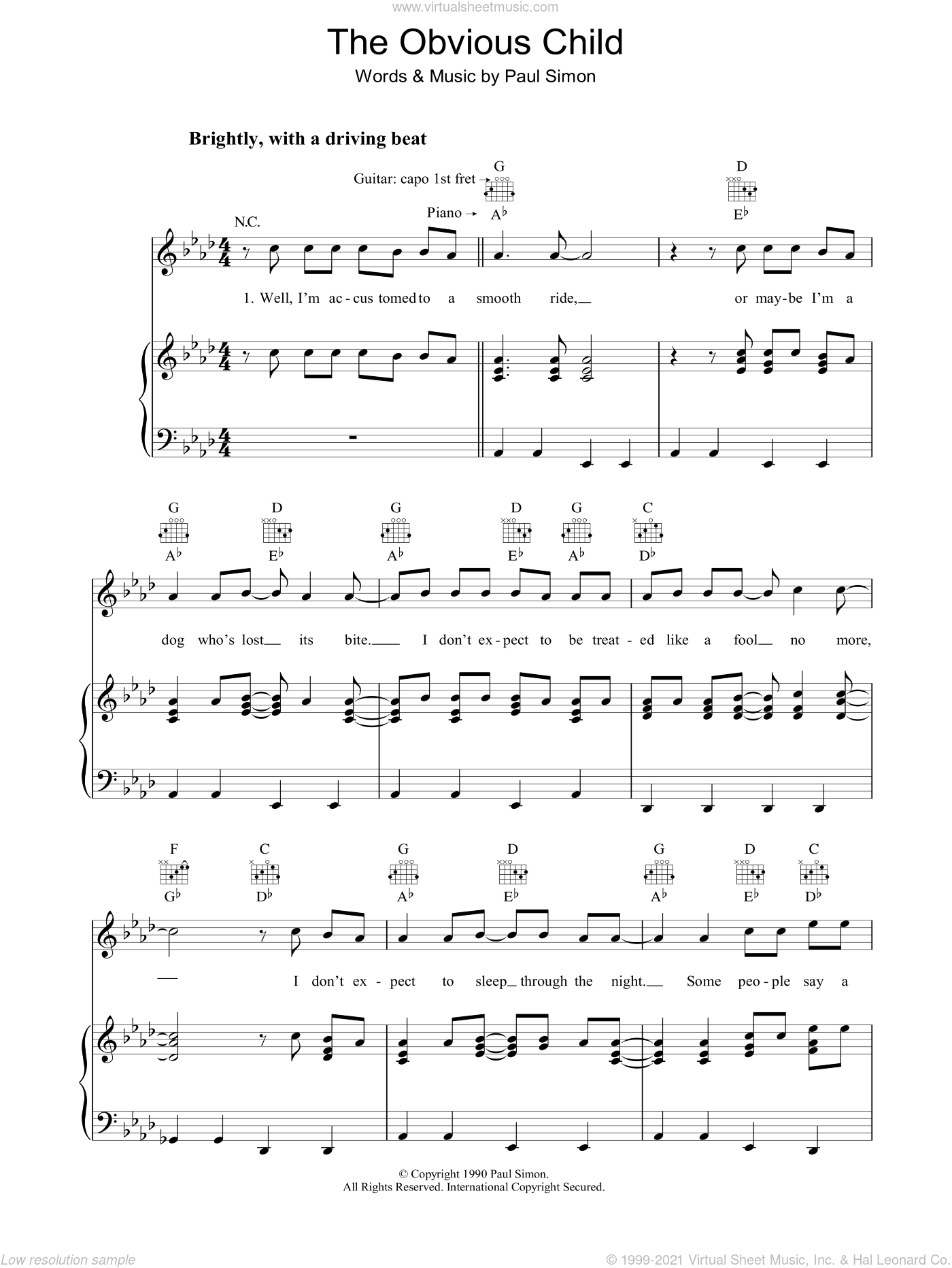 The Obvious Child sheet music for voice, piano or guitar by Paul Simon, intermediate. Score Image Preview.