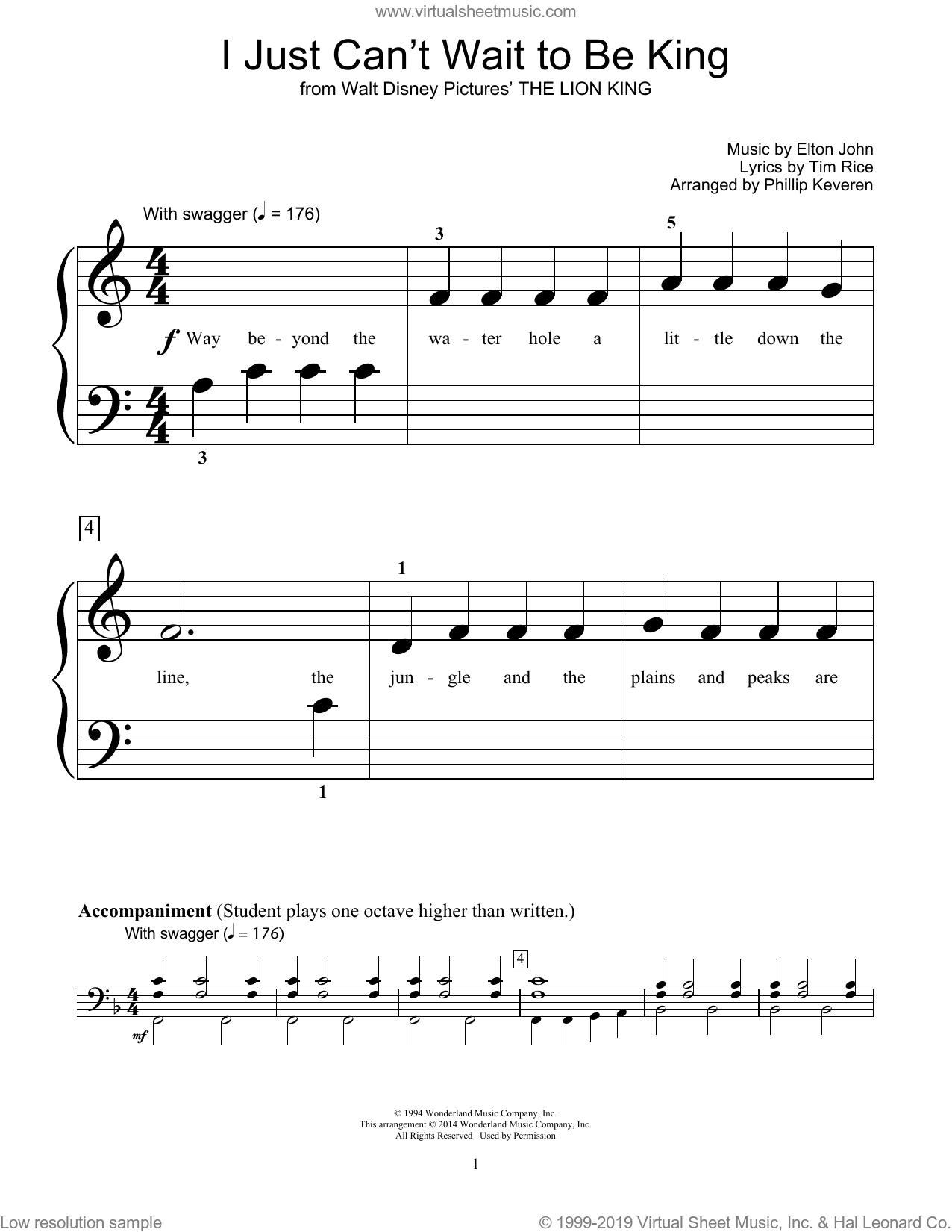 I Just Can't Wait To Be King sheet music for piano solo (elementary) by Bill Boyd, Phillip Keveren, Elton John and Tim Rice. Score Image Preview.