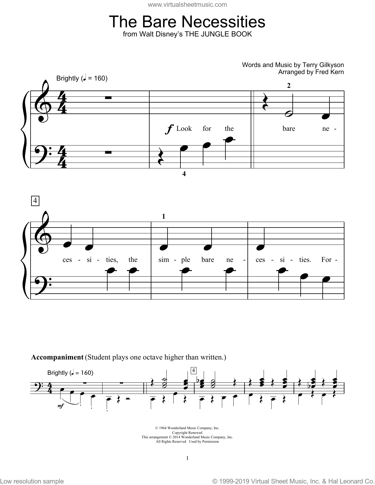 The Bare Necessities sheet music for piano solo (elementary) by Terry Gilkyson, Fred Kern and Bill Boyd, beginner piano (elementary). Score Image Preview.