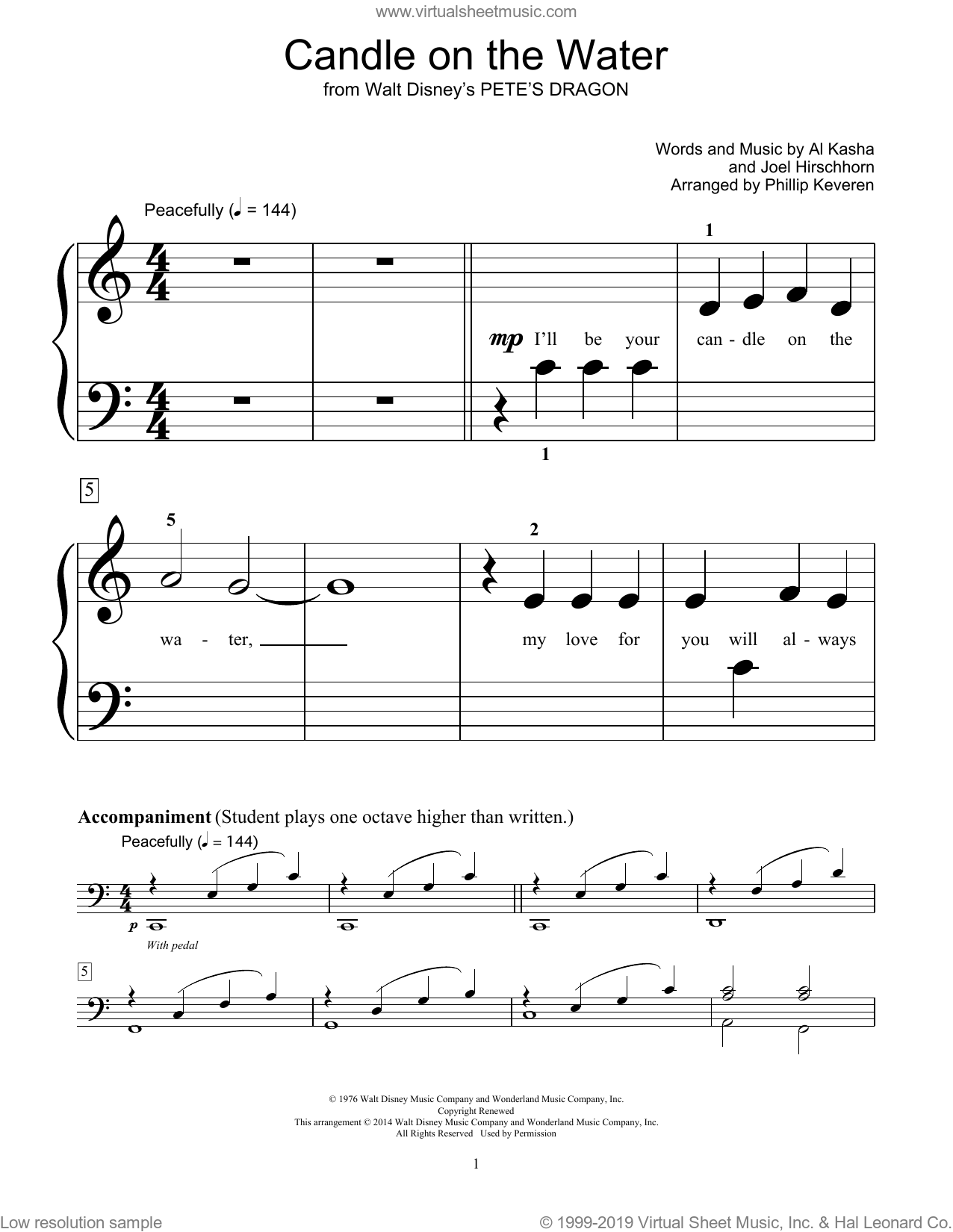 Candle On The Water sheet music for piano solo (elementary) by Bill Boyd, Fred Kern, Al Kasha and Joel Hirschhorn, beginner piano (elementary)