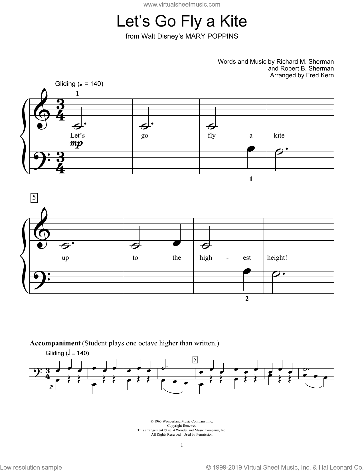 Let's Go Fly A Kite sheet music for piano solo (elementary) by Richard M. Sherman, Fred Kern, Robert B. Sherman and Bill Boyd. Score Image Preview.