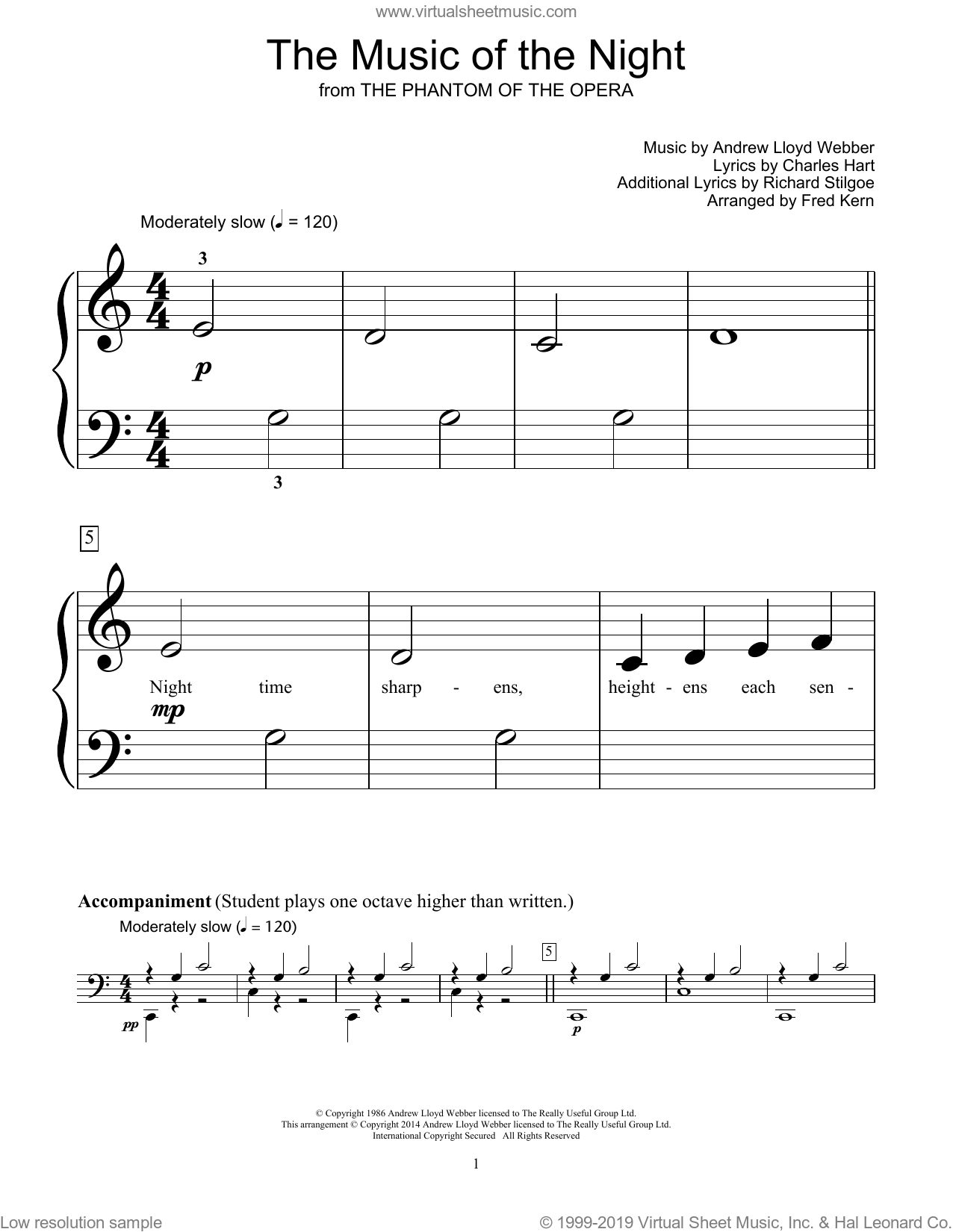 The Music Of The Night (from The Phantom Of The Opera) (arr. Fred Kern) sheet music for piano solo (elementary) by Andrew Lloyd Webber, Fred Kern, Bill Boyd, Charles Hart, David Cook and Richard Stilgoe, beginner piano (elementary)