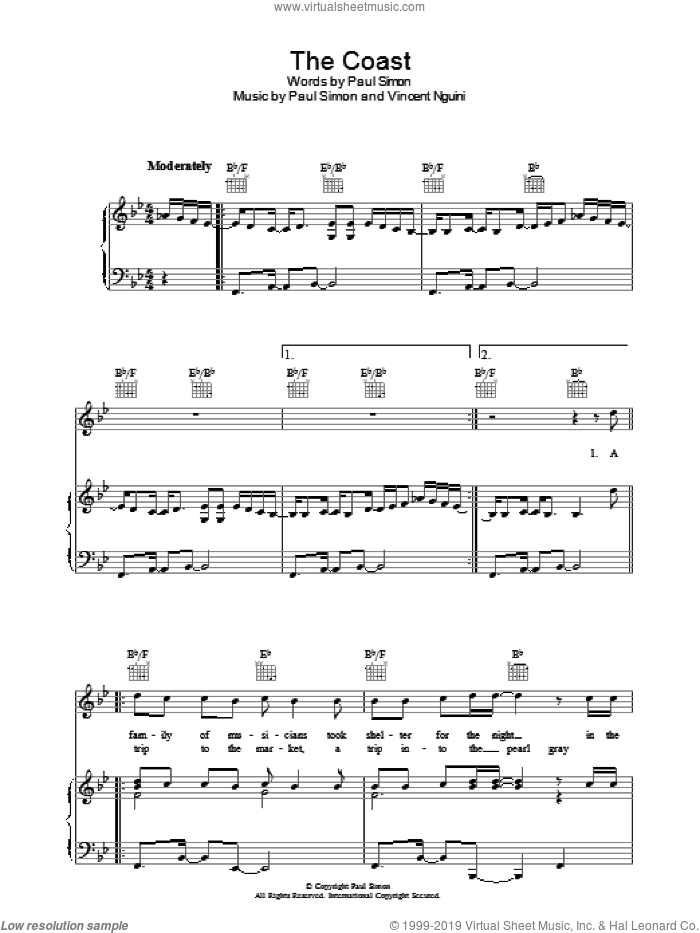 The Coast sheet music for voice, piano or guitar by Paul Simon and Vincent Nguini, intermediate