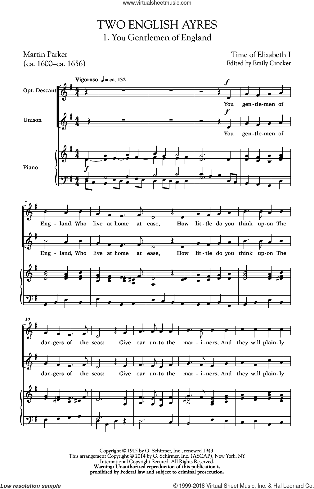 Two English Ayres sheet music for choir (duets) by Emily Crocker. Score Image Preview.