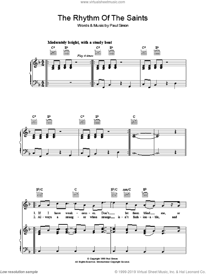 The Rhythm Of The Saints sheet music for voice, piano or guitar by Paul Simon. Score Image Preview.