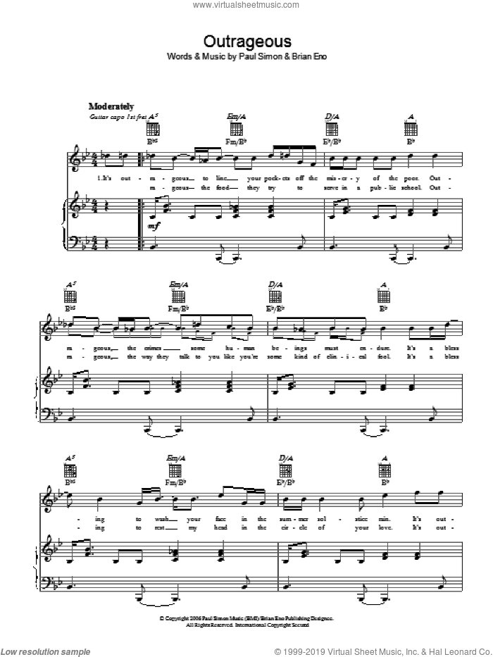 Outrageous sheet music for voice, piano or guitar by Brian Eno and Paul Simon. Score Image Preview.
