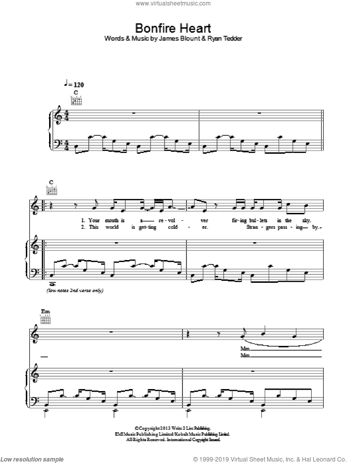 Bonfire Heart sheet music for voice, piano or guitar by James Blunt, James Blount and Ryan Tedder, intermediate skill level