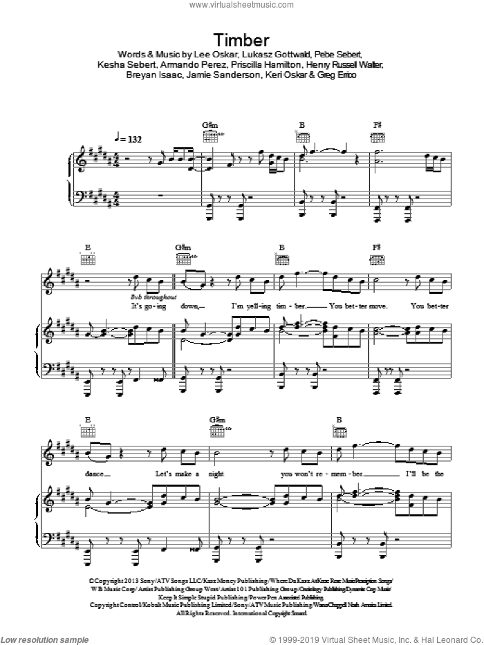 Timber sheet music for voice, piano or guitar by Pitbull feat. Kesha, Armando Perez, Breyan Isaac, Jamie Sanderson, Kesha Sebert and Lukasz Gottwald, intermediate voice, piano or guitar. Score Image Preview.