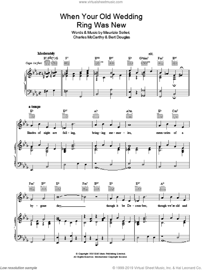 When Your Old Wedding Ring Was New sheet music for voice, piano or guitar by Charles McCarthy, Bert Douglas and Maurizio Solieri, intermediate skill level