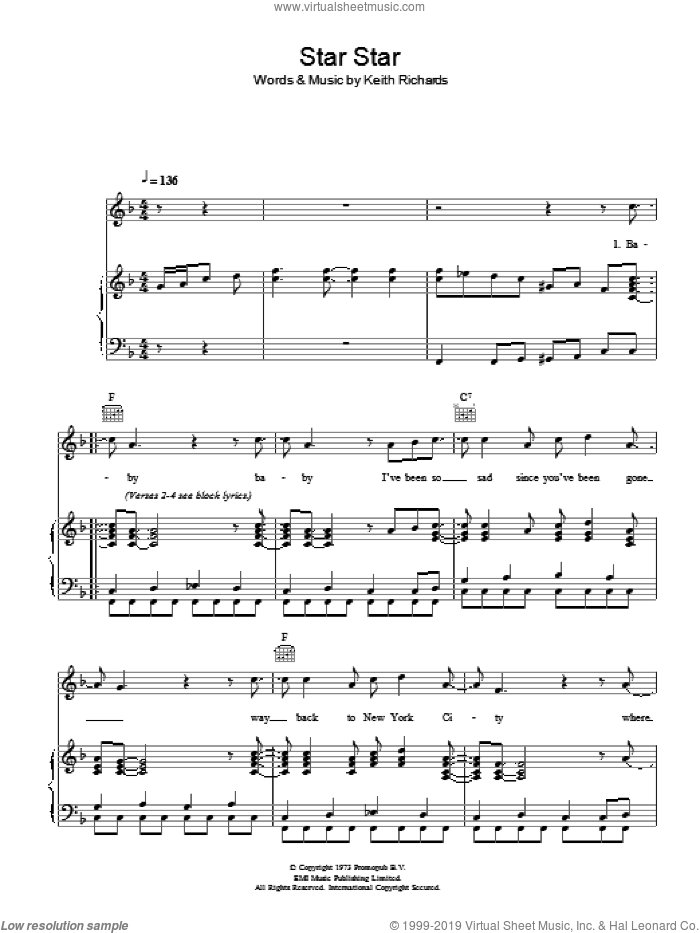 Star Star sheet music for voice, piano or guitar by The Rolling Stones and Keith Richards, intermediate skill level