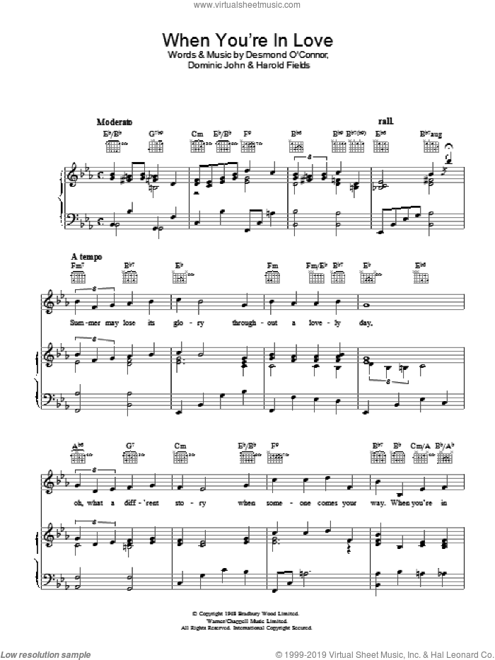 When You're In Love sheet music for voice, piano or guitar by Harold Fields and Dominic John, intermediate skill level