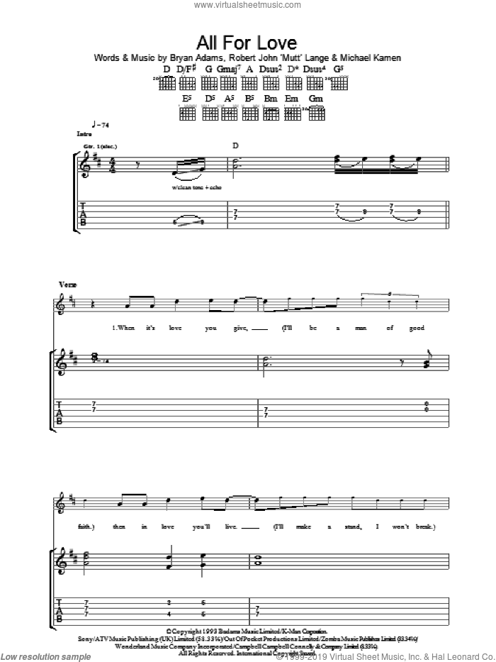 All For Love sheet music for guitar (tablature) by Bryan Adams, Rod Stewart & Sting, Bryan Adams, Rod Stewart, Sting, Michael Kamen and Robert John Lange, wedding score, intermediate skill level