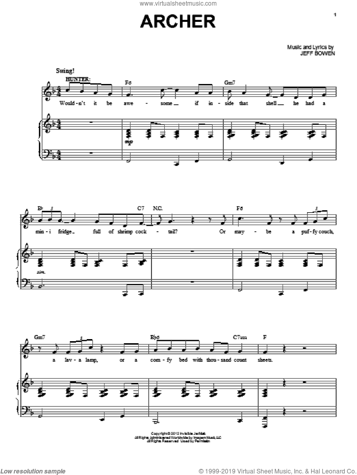 Archer sheet music for voice and piano by Jeff Bowen, intermediate skill level