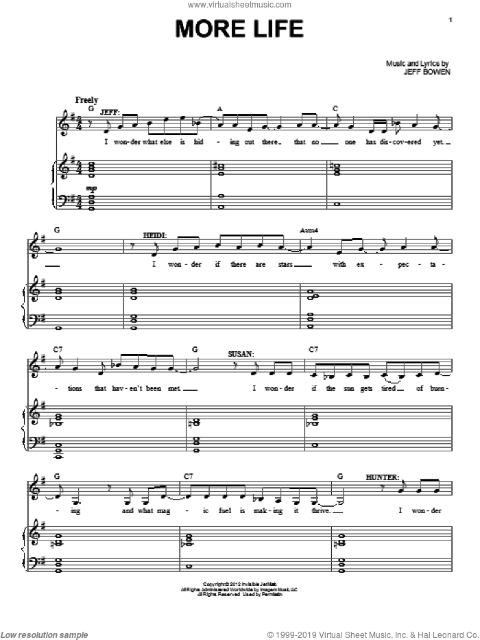 More Life sheet music for voice and piano by Jeff Bowen, intermediate skill level