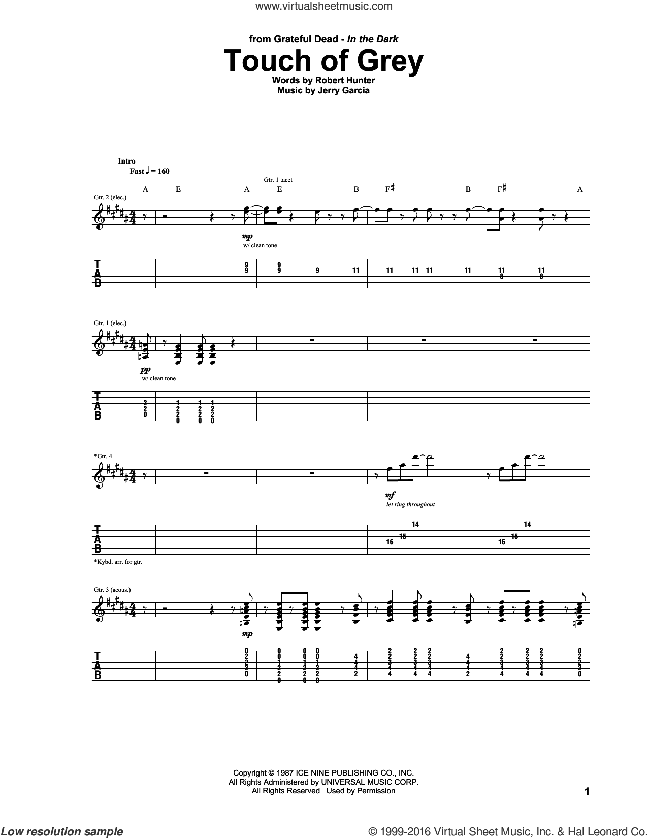 Touch Of Grey sheet music for guitar (tablature) by Robert Hunter and Grateful Dead. Score Image Preview.
