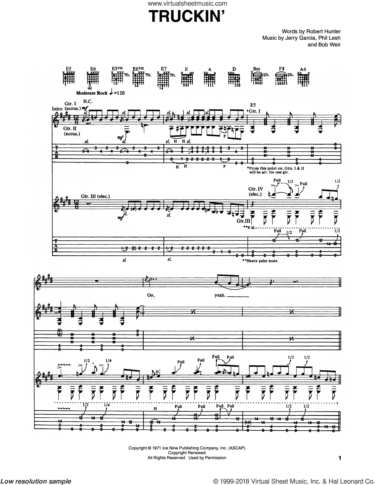 Truckin' sheet music for guitar (tablature) by Robert Hunter, Bob Weir and Grateful Dead. Score Image Preview.