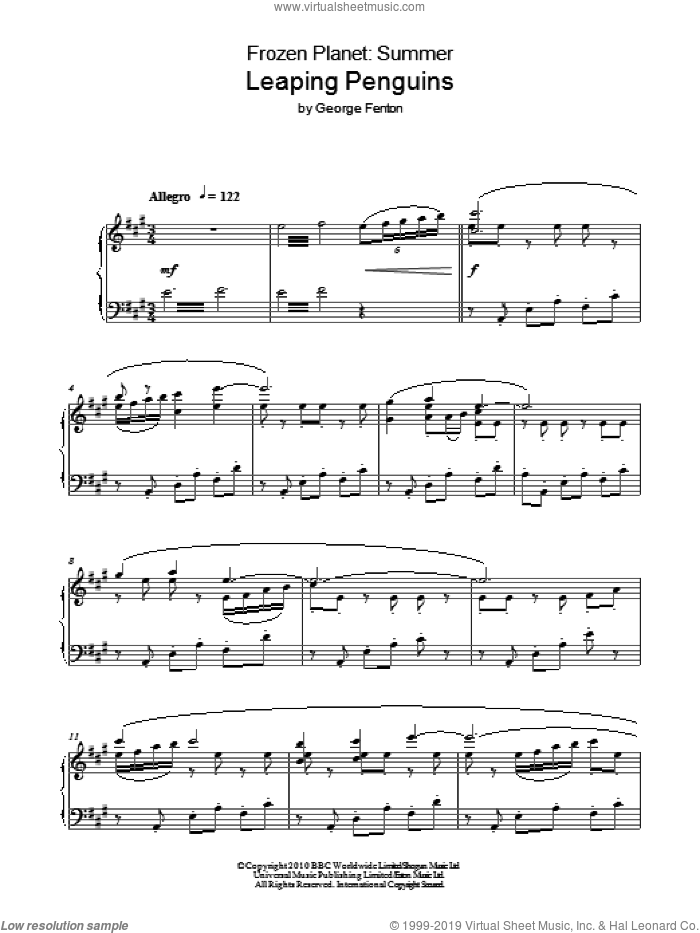 Frozen Planet, Leaping Penguins sheet music for piano solo by George Fenton. Score Image Preview.