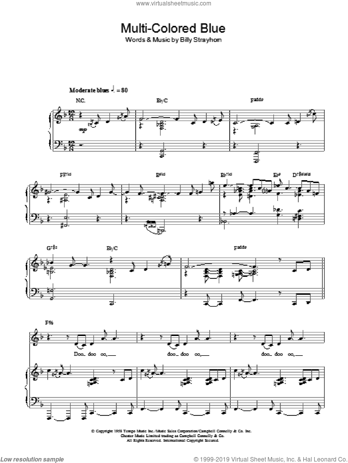 Multi-Colored Blue sheet music for voice, piano or guitar by Billy Strayhorn. Score Image Preview.