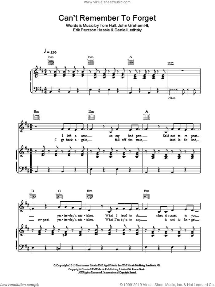 Can't Remember To Forget You sheet music for voice, piano or guitar by Tom Hull