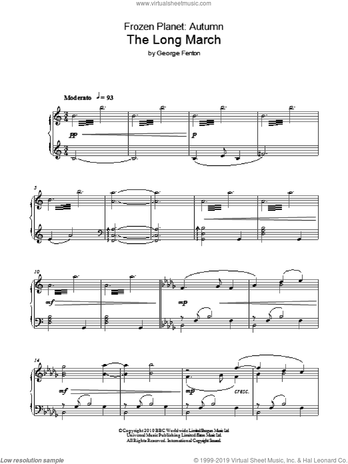 Frozen Planet, The Long March sheet music for piano solo by George Fenton, intermediate piano. Score Image Preview.