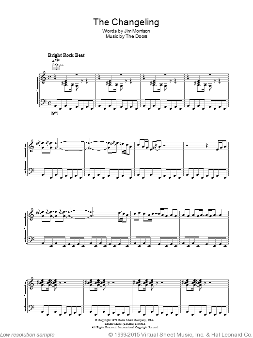 The Changeling sheet music for voice, piano or guitar by Robbie Krieger