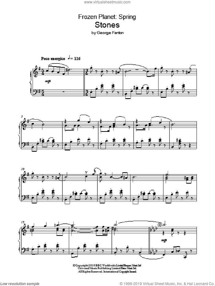 Frozen Planet, Stones sheet music for piano solo by George Fenton. Score Image Preview.