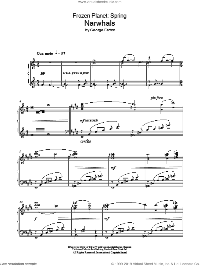 Frozen Planet, Narwhals sheet music for piano solo by George Fenton, intermediate piano. Score Image Preview.