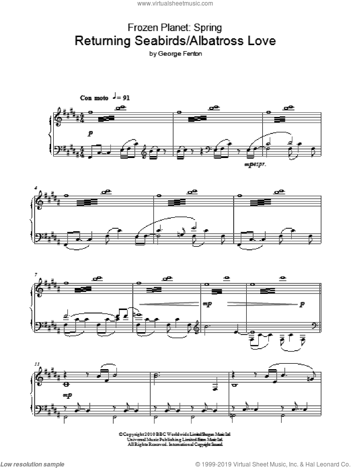 Frozen Planet, Returning Seabirds/Albatross Love sheet music for piano solo by George Fenton, intermediate piano. Score Image Preview.