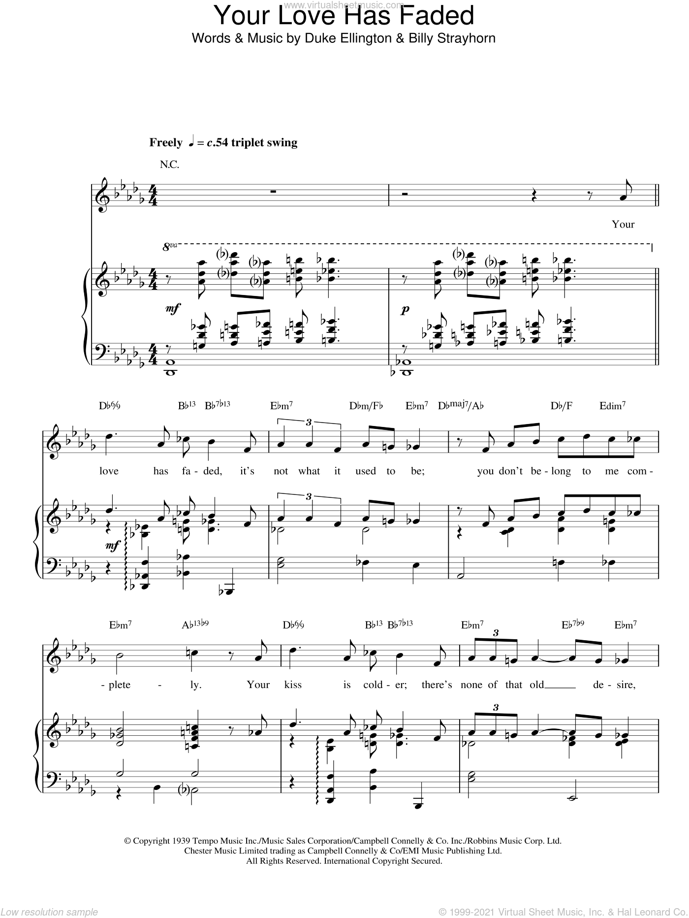 Your Love Has Faded sheet music for voice, piano or guitar by Billy Strayhorn